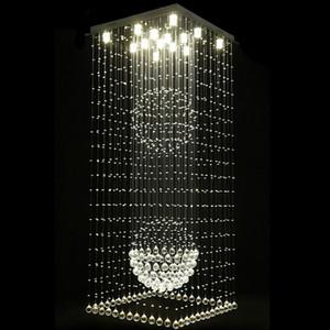 Lampadari di cristallo quadrati contemporanei lampade a sospensione a forma di sfera di cristallo della villa della lampada della plafoniera della scala del soffitto di Raindrop Flush