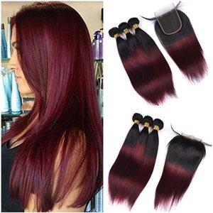 Девственница перуанское вино красный Ombre человеческих волос ткет с закрытием шнурка 4x4 прямой 1b / 99J Бургундия Ombre кружева закрытия с 3 пачки сделок
