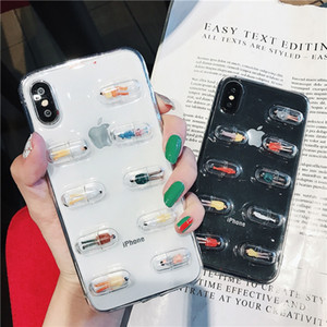 3D Cute Capsule Pills Person Phone Case para iPhone X 6 6S 7 8 Plus Transparente Soft TPU Funda trasera Coque Cases