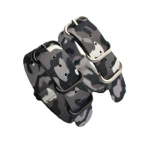 5 unids / lote camuflaje de buena calidad de nylon bandas de Nato correas de reloj con anillo de acero 18 mm 20 mm 22 mm 24 mm envío libre de DHL
