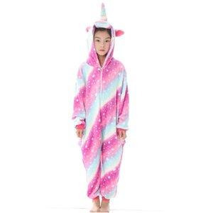 Crianças Pijama Estrelas Unicórnio Inverno Pijama Dos Desenhos Animados One Piece Sleepwear licorne Coral Fleece pijama Quente MX-041