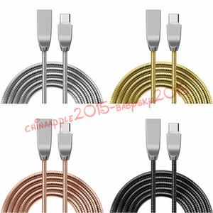 Charge rapide 2A 1m 3ft type c Usb C micro acier inoxydable câble USB en alliage de zinc pour Samsung s6 s7 bord s8 note 8 htc