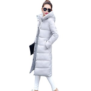 2017 hot sale Solid hooded collar parka long coat Down cotton full Sleeves thicken jacket Regular winter women Snow outwear NEW