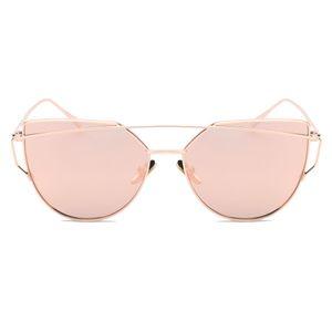 2018 New Fashion Women Cat Eye Sunglasses Vintage Twin-Beam Mirror Sun Glasses Female