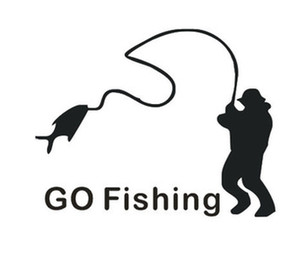 10PCS GO FISHING Car Sticker Carton Funny Car Covers Go To Fish English Letters And Man