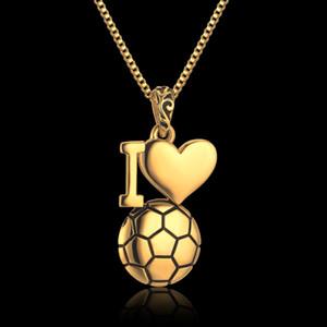 Esmalte Jóias Eu Amo Bola de Futebol Colar de Corrente De Caixa De Aço Inoxidável Jóias Homens Pingentes Colares de Ouro Da Cor do Futebol