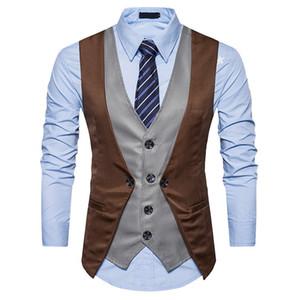 New Men Vest Fashion Fake Two Piece Patch Gilet Casual Slim Affari Social Suit Vest Groom Plus Size XXL