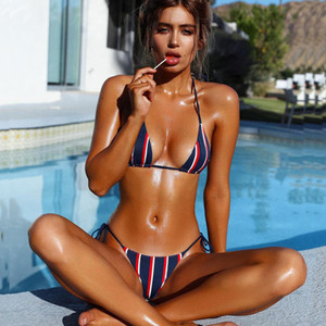 2018 Moda Hot Sale Bikini Set Swimwear Mulheres Sexy Swimsuit Push Up Swim biquini listrada Strap Verão Maiô