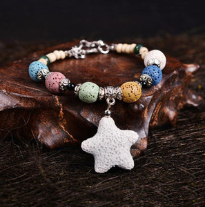 Bohemian Färbt Stern Natur Lavastein Ätherisches Öl Diffuser Armband chromatische Aromthraphy Perlen-Armband-Frauen Schmuck
