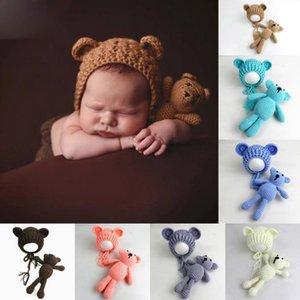 مولود جديد التصوير الدعائم القبعات الدب لعب مجموعة اليدوية الصوف الحياكة الوليد صورة الدعامة الدب الصغير قبعة الكرتون قبعات