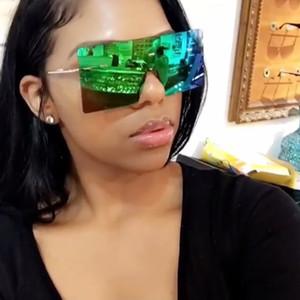 lunettes de soleil surdimensionnées Lunettes de soleil pour femmes Objectif coloré carré Lunettes de soleil Femme Gradient unisexe Beach Tour de vacances Shades Mirror
