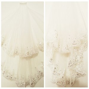 Vintage 1 M Uzun Gelin Peçe Dantel Aplikler Sequins Kenar Kısa Düğün Peçe 2 Katmanlar Beyaz Peçe Uzun Gelin Düğün Peçe