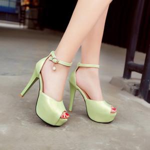 Сандалии новая мода Женская обувь Большой 40 41 42 43 44 45 46 47 высокий каблук 12 см платформа 4 см маленький 33 размер 32-48