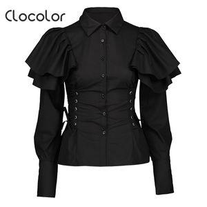 Clocolor Femmes Noir Gothique Chemisier Chemises À Manches Longues Mince Lace Up À Volants Tops Fashion Lady Élégant Turn-Down Col Chemises
