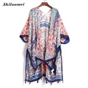 여름 카디 건 여성 빈티지 블라우스 무헤 에르 인쇄 된 목도리 블라우스 셔츠 Chemise Femme Boho Cardigan Feminino 반소매상의