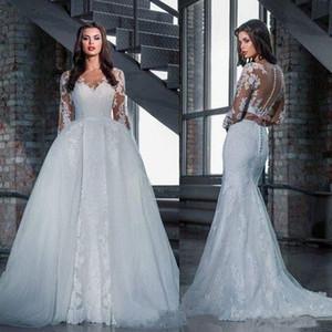 탈착식 기차가있는 인어 긴팔 웨딩 드레스 2019 겸손한 전체 레이스 깎아 지른 버튼 Princesws 교회 웨딩 드레스