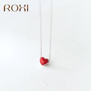 ROXI 925 Sterling Silver Collier Femmes Mode Collier Mignon Petit Rouge Glaze Coeur Pendentif Collier Pour Femmes Filles Lady Cadeaux