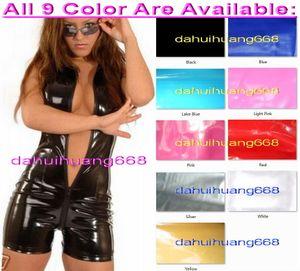 Unisex сексуальный черный PVC Короткое тело костюм костюмы без рукавов Новый 7 Цвет Блестящий ПВХ Короткие костюм Кэтсьют комбенизоны костюмы Front Long Zipper DH226