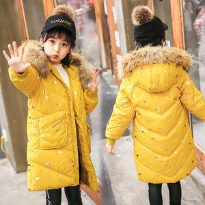 2018 Girls Duck Down Jackets Russian Winter Long Sections Thickening Warm Outerwear & Coats Girl Fur Collar Jacket & Parkas -35
