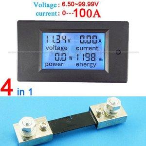 Freeshipping DC 6.5-100 v 100A LCD Combo Meter Tensão atual KWh Watt Painel Medidor 12 v 24 v 48 v monitoramento de Energia Da Bateria + 100A Shunt