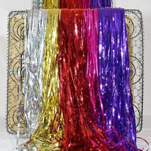 Eco-Friendly 20pcs Bojar / Lot 2m x 60cm Wedding Metallic Foil Fringe Porta chuva Cortinas Decoração Mariage foto do partido