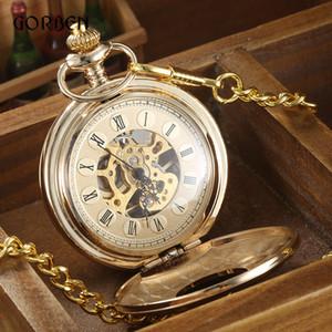 Steampunk Altın Mekanik Pocket Watch Roma Klasik Lüks Metal Cep Fob Saat Zincir Hediyeler Ile Erkekler Için Relogio De Bolso