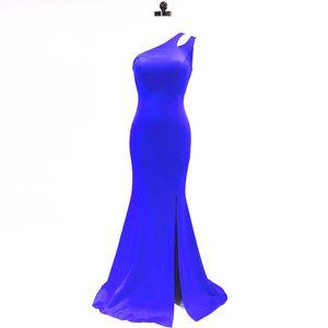 One Shoulder Split Evening Dresses 2018 Mermaid Evening Dress Floor Length Prom Dress New Long Party Dresses