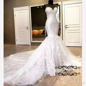 Hermosa sirena de encaje vestidos de novia apliques abalorios blanco largo capilla tren sheer cuello 2019 vestido de novia para mujeres Vestido de Noiva