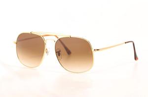 Gafas de sol para hombre Diseñador de la marca Gafas de sol The General Gafas de sol Grandes monturas Sunglases Marco de metal Lentes de vidrio Gafas de sol 3561 con estuche