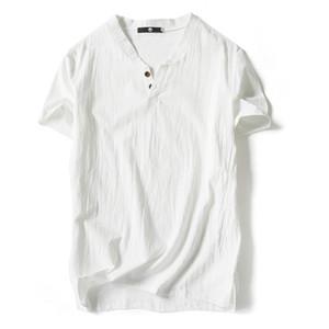 New Fashion Linen Cotton T Shirt Men Short Sleeve T Shirts Mens Casual V Neck Slim Breathable T Shirt Male Tees