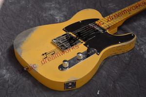 중국 firehawk 일렉트릭 기타 TL 핸드 메이드 클래식 옐로우 기타 오래된 기타 무료 배송