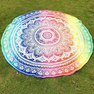 Asciugamano da spiaggia rotondo in tinta unita di poliestere Asciugamano hippie di Mandala Boho Hippie Tovaglia indiana Tappetino da yoga Protezione solare con scialle Wrap Indian Mat Picnic