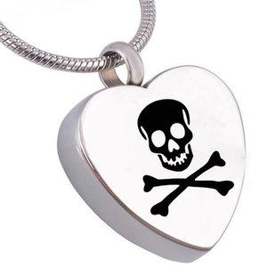 Мода ювелирные изделия кремация ювелирные изделия череп сердце урна ожерелье из нержавеющей стали памятный мемориал для пепла кулон