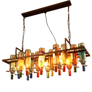 Pendurado garrafas de vinho Pendant Light Loft Suspensão industrial luminária Bar Kitchen Dinning Room Home Lighting PA0135