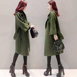 Ordu Yeşil Yün Ceket Kadınlar Uzun Parkas Manteau Femme Zarif Kış Coat Kadınlar Flare Kol Kemer Yün Ceket Kadın C3617