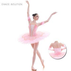 Tutu de Ballet Pancake Dance Costume Stage Performance Pré-profissional Tutu Menina Mulheres Trajes de Balé Branco rosa de Veludo