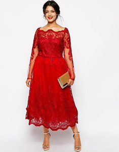 2019 Stunning Red Lace Plus Size Evening Dresses Long Sleeves Bateau A Line Prom Gowns Tea Length Formal Party Wear