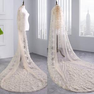 De gama alta Champagne 3M Long Cathedral Velos de novia con encaje Apliques Moldeado Tul suave Imagen real Barato de lentejuelas nupcial velo