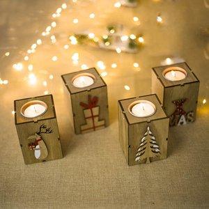 Vela do Natal Titular Mini Teste padrão de madeira Castiçal Decoração de renas árvore Tealight Titular Para Xmas Home Decor DHL HH7-1829
