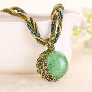 Женщины ожерелья женские ключицы короткие цепи мода камень кулон ожерелья Павлин украшения грубый ожерелье VBV07