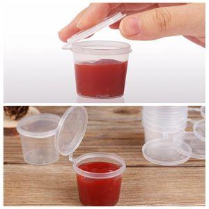 100pcs / lot petits contenants de stockage des aliments de tasses de sauce jetables en plastique clair paquet transparent +