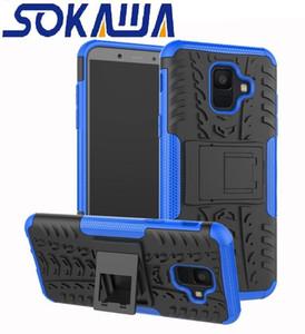 Pour Samsung Galaxy A6 2018 Galaxy A6 Plus J4 J6 J8 2018 Cas Soft TPU Armure Hybride Protection stand Shell Dur Caoutchouc Silicon Cover