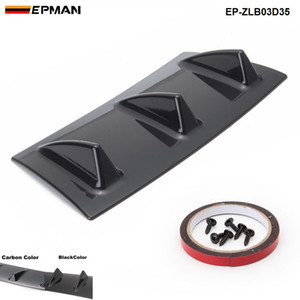 EPMAN NOUVEAU pare-chocs arrière du châssis aileron de requin 5 Wing Lip Diffuseur ABS Universel Noir / Couleur carbone EP-ZLB03D35