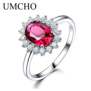 UMCHO Real 925 Sterling Silber Nano Red Edelstein Rubin Prinzessin Diana Ringe Für Frauen Hochzeit Party Geschenk 2018 Y18102510