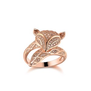 925 100% Sterling Silver Luxury Ring Women Fashion Inlaid Gem Crystal Plated Rose Gold Long-tailed Fox Charming Ring Valentine Gift