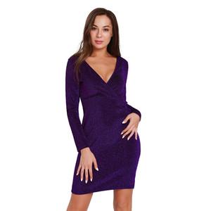 2018NEW женская мода сексуальное платье для клубная одежда партии V-образным вырезом Bodycon сияющий роскошный коктейль slim fit платья с длинным рукавом размер S M L XL