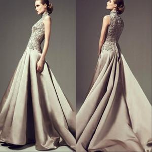 Comprimento Pavimento Neck alta Arábia árabe Ashi Estúdio Vestidos Formais 2019 frisada Lace Appliqued Longo Formal Prom Vestidos BA6648