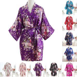 Puseky Soie Satin Floral Cherry Robe De Mariée De Mariée Demoiselle D'honneur Pyjamas Court Kimono Robe De Bain De Nuit Robe De Robe Pour Femmes