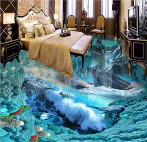 Personalizado Photo Floor 3D Wallpaper Wave Baño Floor Mural-3d PVC Wallpaper Self-adhesive Floor Wallpaper-3d