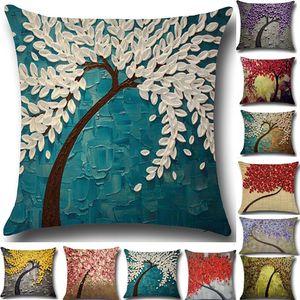 Baum des Lebens Blume Kissen Fall 3D Kissenbezug Leinen Baumwolle Werfen Sofa Bett Kissenbezüge Christams Home Dekorative 20 Designer WX9-751